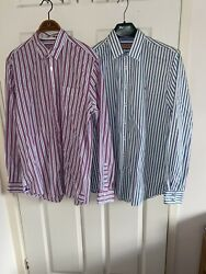 Mens Medium Thomas Pink Shirt X2 Designer Clothes Bundle Shirts M Cotton Striped