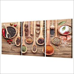 3Panel Canvas Kitchen Wall Art Spoons And Spices Modern Home Decor Frameless $13.02