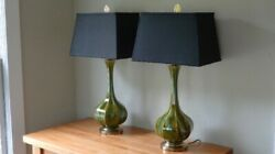 Table Lamps pair Mid century Tapered fired glazed ceramic Murano style swirl $350.00