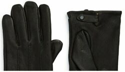 Ted Baker BNWT $139 ROOTS Mens Black Leather Driving Gloves Size M L $39.00