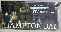 Hampton Bay 12 Light 24 ft. Black Commercial String Light Patio Outdoor T