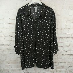 Catherines Plus 3X Black White Polka Dot 3 4 Rolled Sleeve Button Front Top $20.65
