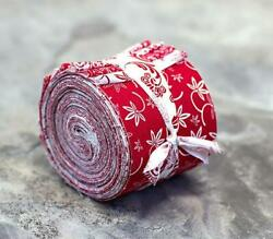 Red and White Jelly Roll 100% cotton fabric quilting 16 strips quilt strips $10.99