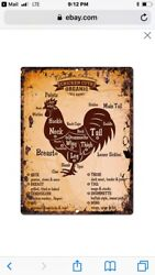 "TIN SIGN quot;Chicken Map"" Kitchen Farm Dairy Meat Fowl Mancave Rustic Decor Vintage $7.35"