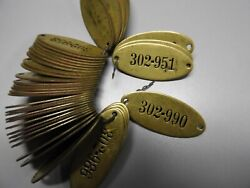 10 Vintage Brass Tags Locker Tags Sequential Industrial Steampunk Unused $7.50