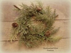 Primitive Country Faux Variegated Prickly Pine 9 10quot; Christmas Candle Ring $7.99