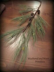 Primitive Country Faux Long Needle Pine Branch with Cones 28quot; $8.99