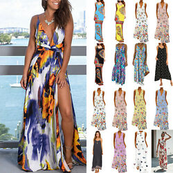 Plus Size Boho Women Beach Maxi Dress Loose Sleeveless Summer Holiday Dresses $14.62