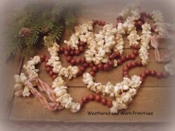 Primitive Country Faux Popcorn and Cranberry Christmas Tree Garland 9 ft Long $13.99