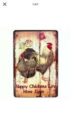 """TIN SIGN quot;Happy Chickens"""" Farm Dairy Eggs Country Kitchen Decor Rooster Vintage $7.35"""