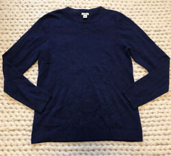 LL Bean 100% Cashmere Royal Blue Crewneck Classic Sweater M Women's Long Sleeve $32.00