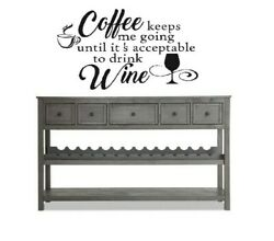 COFFEE WINE Cafe Bar Kitchen Wall Art Decal Quote Home Decor Vinyl Words Decal $11.95