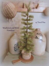 Primitive Country 24quot; Pencil Pine Christmas Tree with Burlap Wrapped Base $22.99