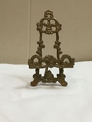 "VINTAGE BRASS EASEL DISPLAY STAND ORNATE 5"" Cell Phone Holder $12.00"