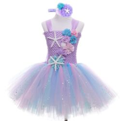 Girls Mermaid Tutu Dress Princess Birthday Party Dresses For Girls Starfish $35.89