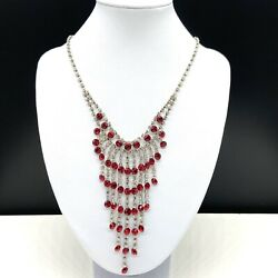 Red amp; Clear Rhinestone Dangle Drop Chandelier Fashion Statement Necklace Formal $16.50