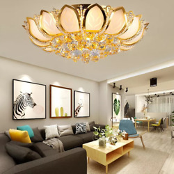 Luxury Crystal Indoor Chandeliers Modern Gold Lotus Flush Mount Ceiling Light $164.69