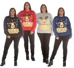 Women Plus Novelty Reindeer Deer Rudolph Merry Xmas Print Christmas Sweatshirt GBP 16.99