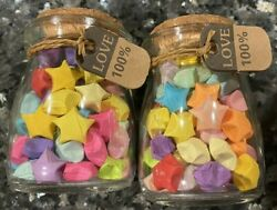 2x Handmade Gift Lucky Paper Stars with glass jar **Paper star color may vary** $19.99