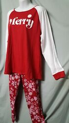 Family PJ#x27;s Red White Pajama Set Christmas Long Pant Long Sleeve L 46quot; Bust $29.99