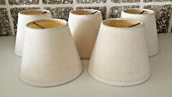 5 Chandelier Lamp Shades 4quot; Hardback ClipOn Ivory Cream F $15.00
