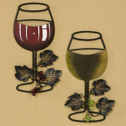 Wall Metal Wine Art Red Wine White Wine Glass Set of 2 Home Bar Wine Decor $34.99