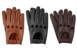 Mens Classic Retro style quality Chauffeur Soft Lambskin Leather Driving Gloves $12.99