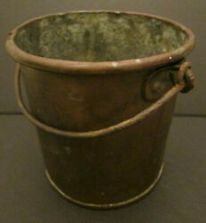 Antique Handmade Small 5.1quot; Copper Bucket with Handle $24.99
