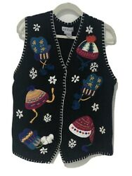 Christmas WINTER womens cardigan sweater vest SIZE L SO CUTE for party nice $19.99