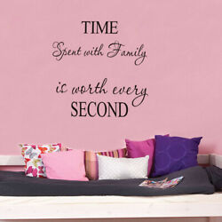 Time Spent With Family Is Worth Every Second Wall Quote Decal Home Stickers US $5.85