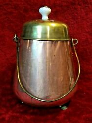 Vintage Copper Bucket With Brass Lid Handle and Porcelain Top $35.00
