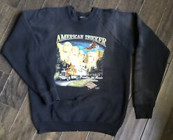 Vintage 3D Emblem Truckers Only Mount Rushmore Sweatshirt Sz XL 1988 Distressed $110.00