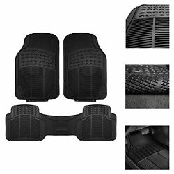 Universal Floor Mats for Car All Weather Heavy Duty 3pc Rubber Set Black $18.99