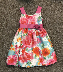 Jessica Ann Size 6 Floral Dress Bow Pink Formal Party Girls Easter $7.99