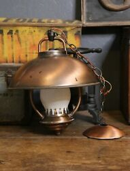 Vintage Light Fixture flying saucer Atomic Mid Century glass Globe lamp ceiling $69.99
