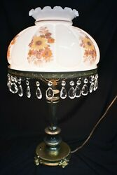 Antique Hurricane Gone with the Wind Lamp with PRISMS $445.00