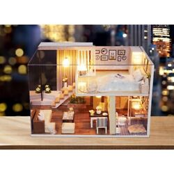 Doll House Wooden Miniature DollHouse furniture DIY Kit LED amp; Music Box Gift Toy $23.99