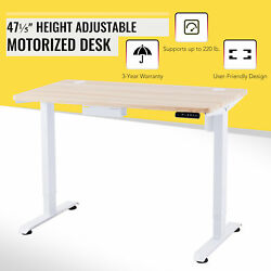 47quot; Custom Motorized Stand Up Desk for Work Gaming More w 220lb Capacity White $264.99