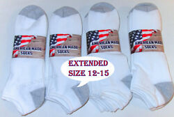 6 12 Pairs Mens Extended Size 12 15 White Cotton Blend No Show Low Cut Socks $18.98