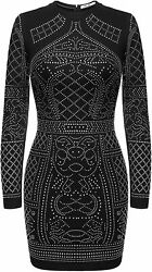 Meaneor Women#x27;s Long Sleeve Rhinestone Embellished Vintage Cocktail Dresses $96.30