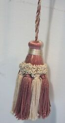 Vintage Tassel French pink Lamp Curtain hanging Antique decorative Ornament $20.00