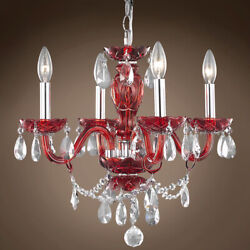 JOSHUA MARSHAL 701423 010 Victorian 4 Light 17 Red Chandelier With Clear $343.81