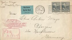 US airmail commercial cover to Germany 1940 nice airmail hand stamp