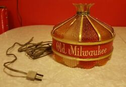 Vintage Old Milwaukee Beer Wall Lamps 8#x27; Wide Lights Stained Glass Look Works $40.00