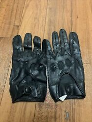 Vintage Isotoner Black Leather Driving Gloves Size Large New without tags $17.99