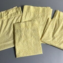 Vintage Mid Century Yellow Floral Print Flocked Kitchen Cafe Curtains Set of 4 $20.00