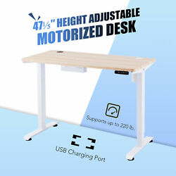 47quot; Custom Motorized Stand Up Desk for Work Gaming More with 2 USB Ports White $275.99