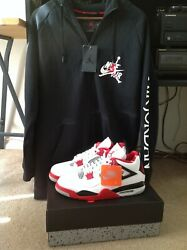 PACKAGE DEAL Air Jordan 4 Retro OG Fire Red 2020 Size 12 amp; Hoodie Size Large $300.00