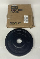 Rogue Fitness Deep Dish 25LB Black Iron Olympic Weight Plates Made in USA New $156.00