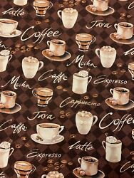 Novelty Cotton Fabric Coffee Time Print 100% Cotton $17.00